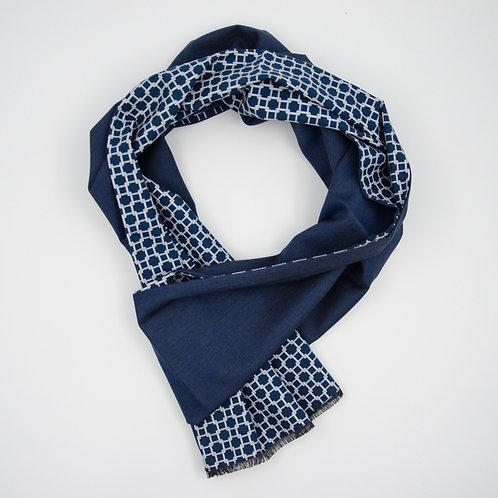 Wolle Schal für Herren Anzug oder Jackett.Handarbeit. Dunkel Blau+Grafik