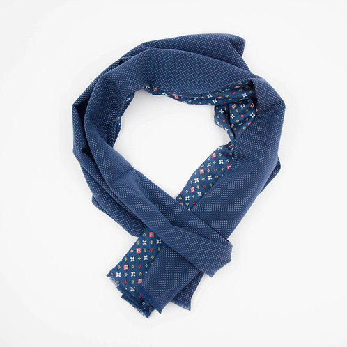 Scarf for men's jacket or suit circa 27x200cm. Grey blue + Dot