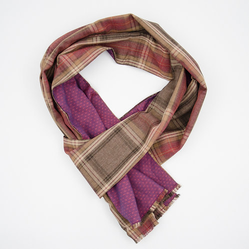 Linen scarf for men suit or jacket ca.27x200cm.Red. Plaid + dot