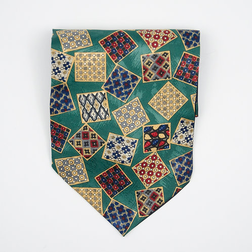 Ascot Tie made of cotton blend cir. 15x100cm. Suitable for tuxedo or shirt. Poker Print. Dark Green