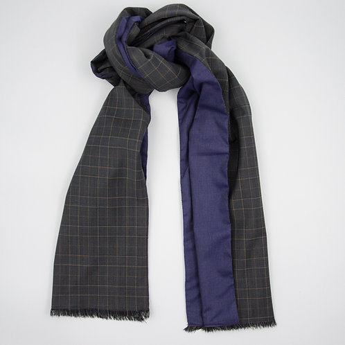Wool scarf for men jacket or suit ca.27x200cm.Check.Dark grey +blue