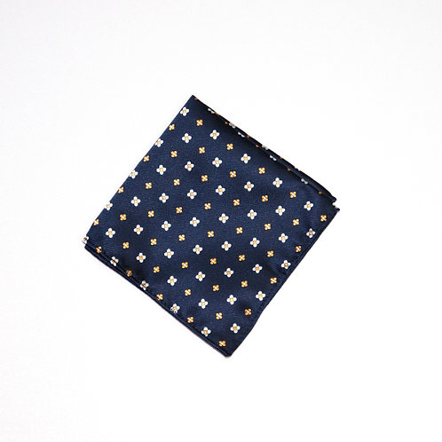 Einstecktuch aus Jaquard Seide. Blumen Motif. Blau. Ca. 25 x25cm.