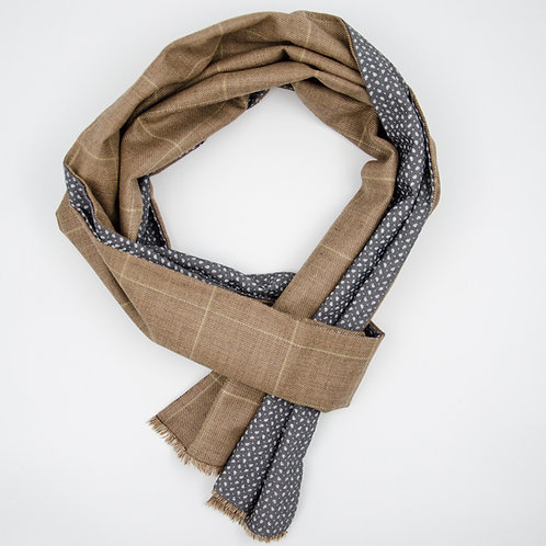 Wool scarf for men suit or jacket ca.27x200cm.Check. Brown+grey
