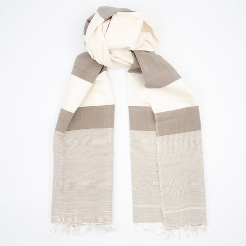 Silk scarf for men or women (unisex) cir.50x200cm. Timeless and elegant. Chocolate White