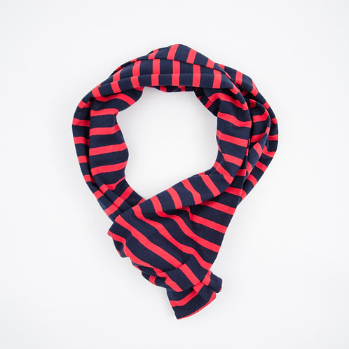 Jersey scarf cir 20x200cm. Double side. Stretchable and soft cotton. Suitable for mild weather and summer. Stripe Red