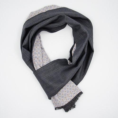 Wolle Schal für Herren Anzug oder Jackett.Handarbeit. Grau + Grafik