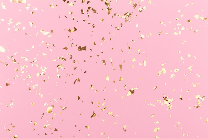 Golden sparkles on pink pastel trendy ba