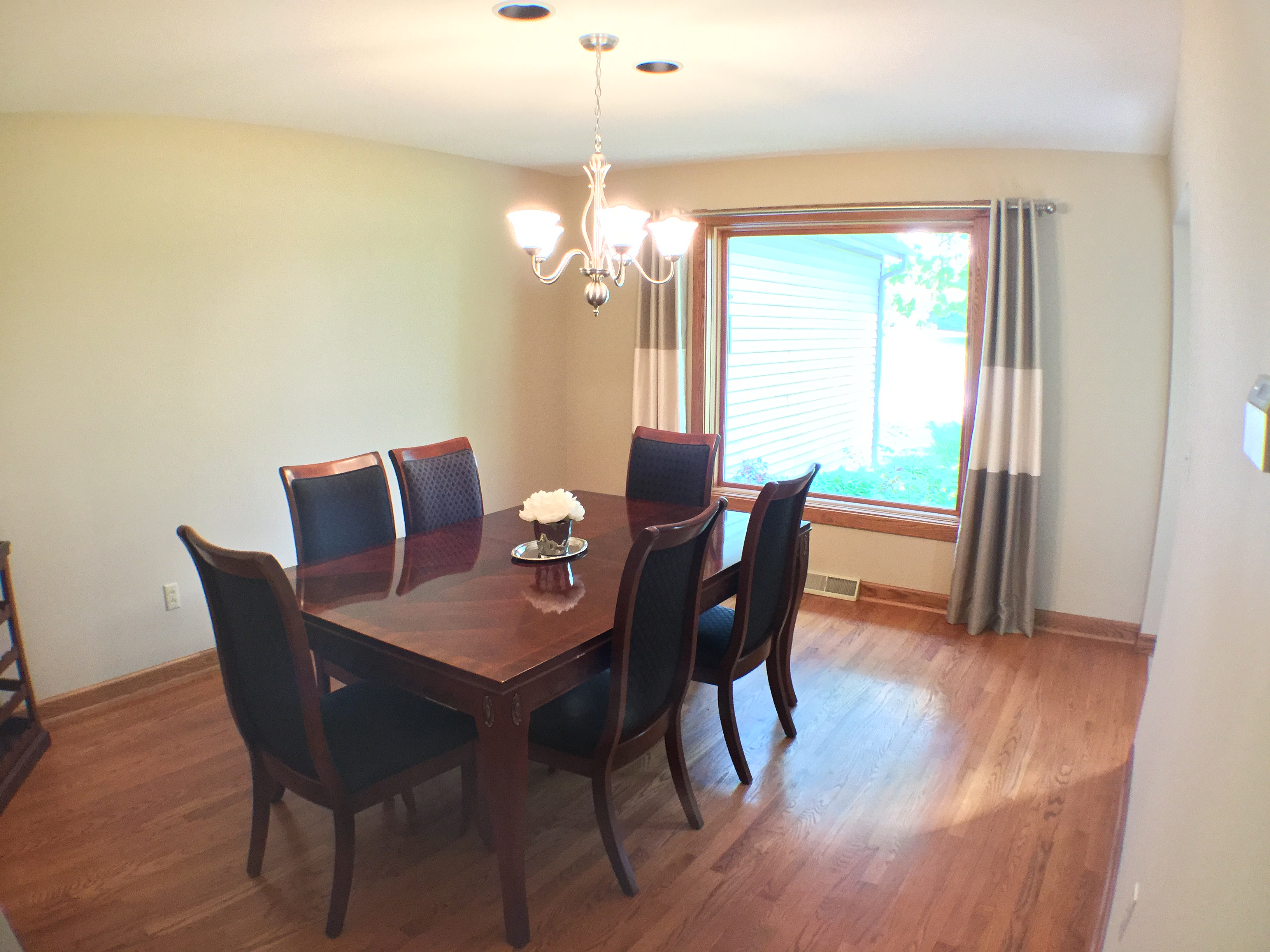 Dining Room With Fresh Paint And New Light Fixture Sourced By Staged To Sell China Hutch Removed Homeowners Furniture