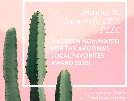 SHAYNE R. NEUWIRTH, CPA PLLC WAS NOMINATED FOR THE ARIZONA'S LOCAL FAVORITE AWARD!