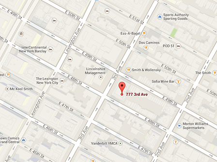Map of office location, 777 Third Avenue in New York, NY