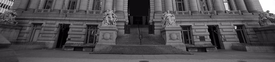 Outside court steps