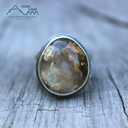 Mojave Desert Plume Agate set in Sterling Silver Statement Ring - Size 6