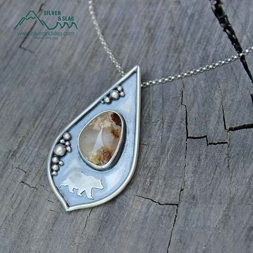 RESERVED California Inspired Scene w Mojave Agate Sterling Silver Necklace