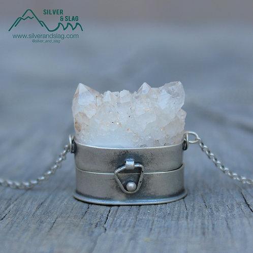 Mojave Desert Quartz Point Cluster Treasure Box Sterling Silver Necklace