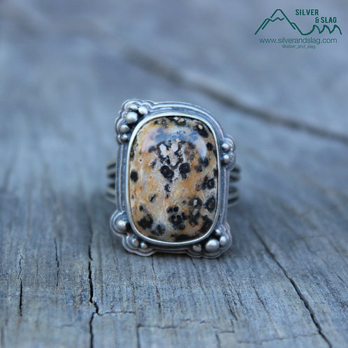 El Paso Mountain Dalmatian Jasper Sterling Silver Statement Ring - Size 9.5