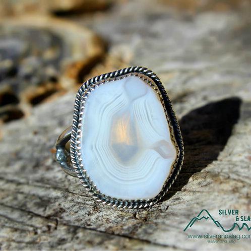 Malibu Banded Agate set in Sterling Silver Ring - Size 7.75    | Silver & Slag |