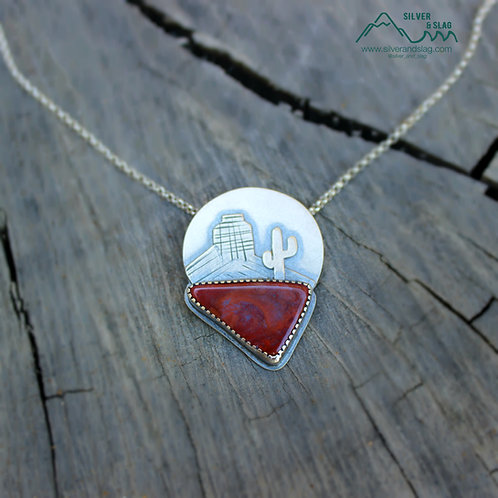 Mojave Desert Sunset with Mojave Jaspagate Sterling Silver Necklace
