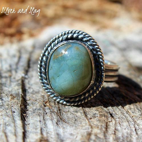 California Blue Jade set in Sterling Silver Ring - Size 8     | Silver & Slag |