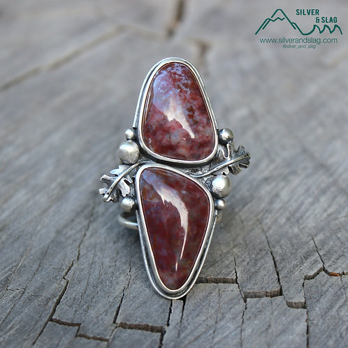 Mojave Desert Moss Agates in Sterling Silver CA Oak Leaf Statement Ring - Size 8