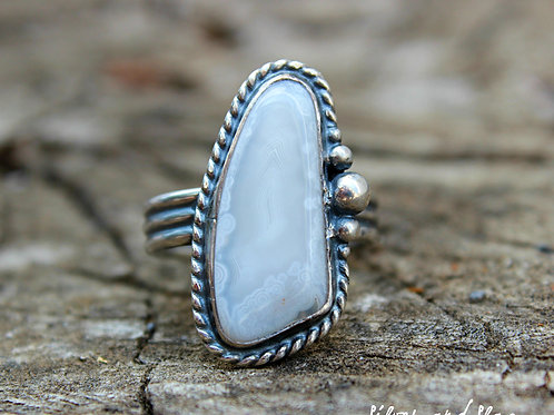 Malibu Beach Crazy Lace Agate Slice set in Sterling Silver Ring - Size 7