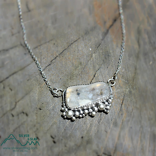 Malibu Raw Agate set in Sterling Silver Necklace        | Silver & Slag |