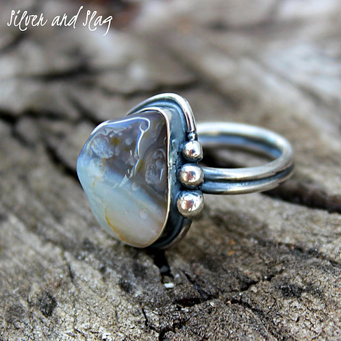 Pacific Ocean Inspired Malibu Agate set in Sterling Silver Ring - Size 6