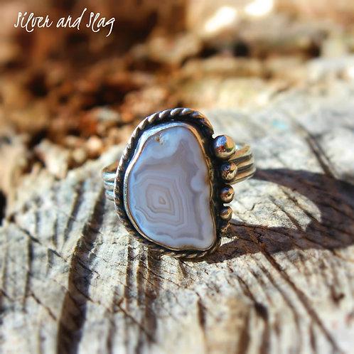 Malibu Beach Banded Agate Slice Ring - Size 6.5     | Silver & Slag |