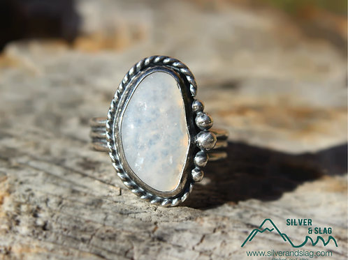 Malibu Agate with Druzy Sterling Silver Ring - Size 5.75    | Silver & Slag |