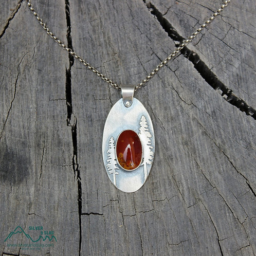 California Redwood Forest Scene w Mojave Poppy Jasper Sterling Silver Necklace