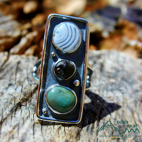 California Agate, Blue Jade & Apache Tear set in Sterling Silver Ring - Size 5.5