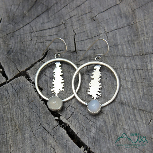 Sterling Silver California Redwood Dangle Hoop Earrings with Malibu Chalcedony