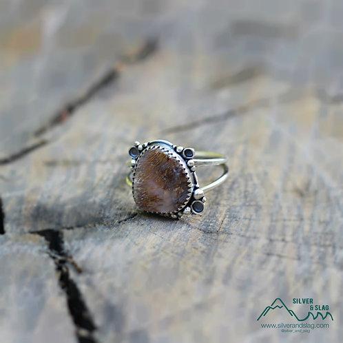 Malibu Agate w Sagenite set in Sterling Silver Ring - Size 9.5 | Silver & Slag |