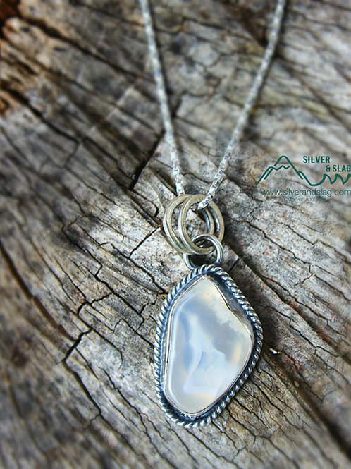 Malibu Agate Slice set in Sterling Silver Necklace        | Silver & Slag |