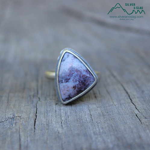 Purple Mojave Desert Moss Agate set in Sterling Silver Statement Ring - Size 8