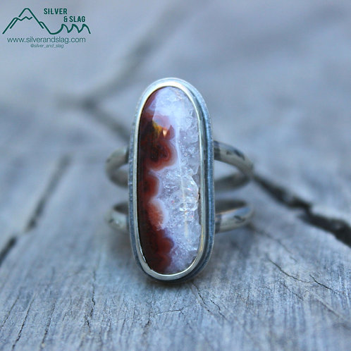 Mojave Desert Red Agate w Quartz set in Sterling Silver Statement Ring - Size 8