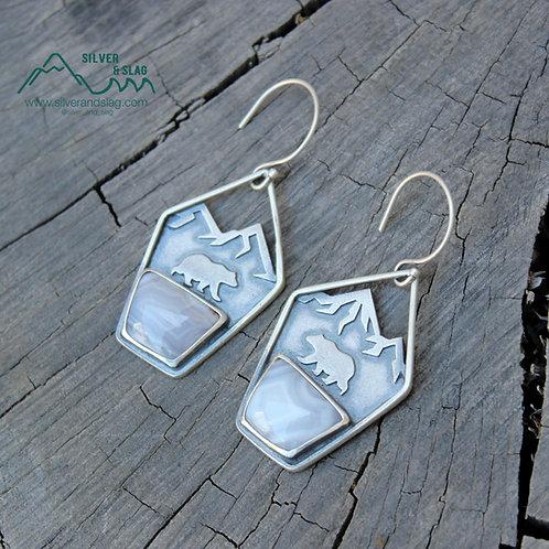 Sterling Silver California Black Bear Dangle Earrings w Mojave Desert Agates