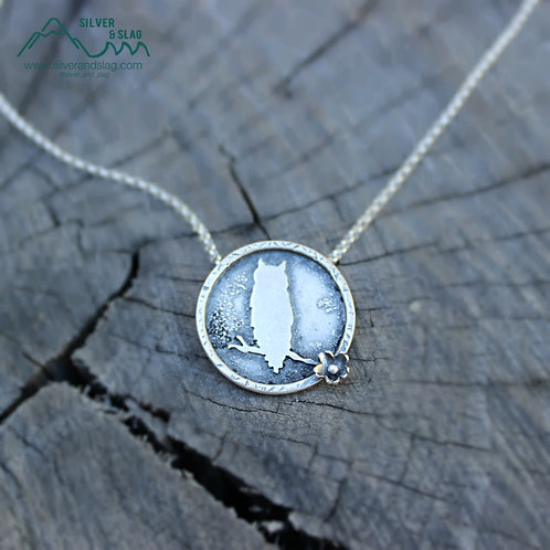Great Horned Owl at Night Sterling Silver Necklace