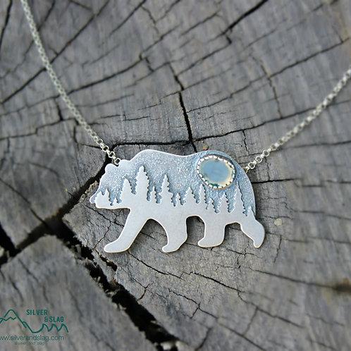 Smaller Mammoth Black Bear Malibu Moss Agate Sterling Silver Necklace