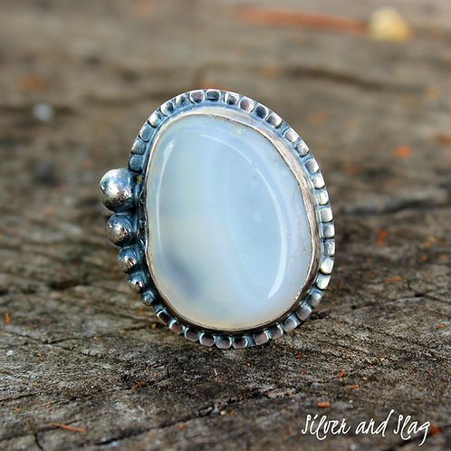 Malibu Beach Banded Agate Slice set in Sterling Silver Ring - Size 7