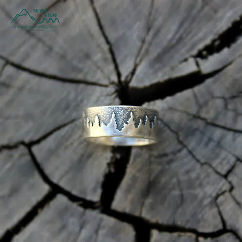 Sterling Silver Tree Line at Night Ring - Unisex        | Silver & Slag |