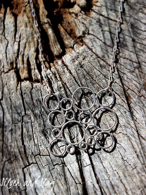 Pacific Ocean Bubbles Sterling Silver Necklace           Silver & Slag  