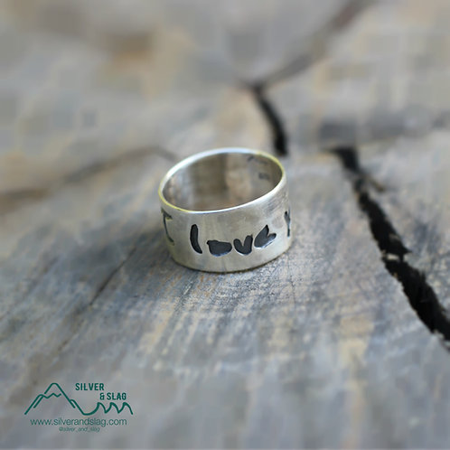 Handwritten Sterling Silver I Love You Ring - guy's writing    | Silver & Slag |