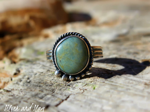 California Blue Jade set in Sterling Silver Ring - Size 5.75   | Silver & Slag |