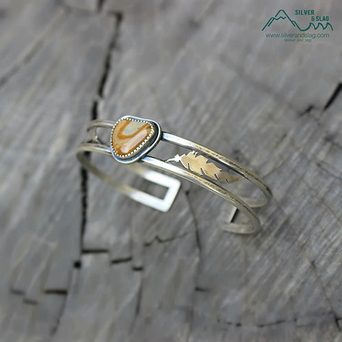 California Feather Sterling Silver Cuff Bracelet with Central Coast Jasper
