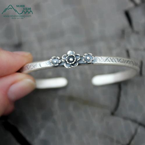 California Superbloom Sterling Silver Cuff Bracelet - 3 Flowers