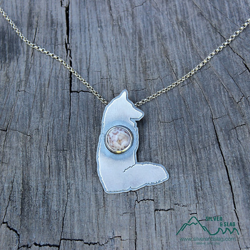 Coyote Sitting Focused with Mojave Desert Agate Sterling Silver Necklace