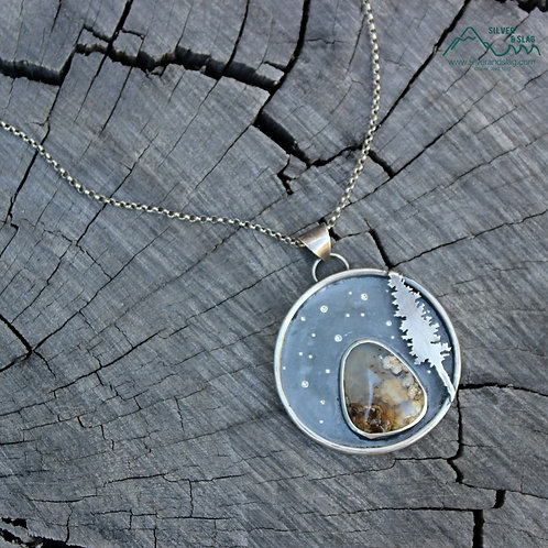 Forest at Night w Mojave Desert Plume Agate Sterling Silver Statement Necklace