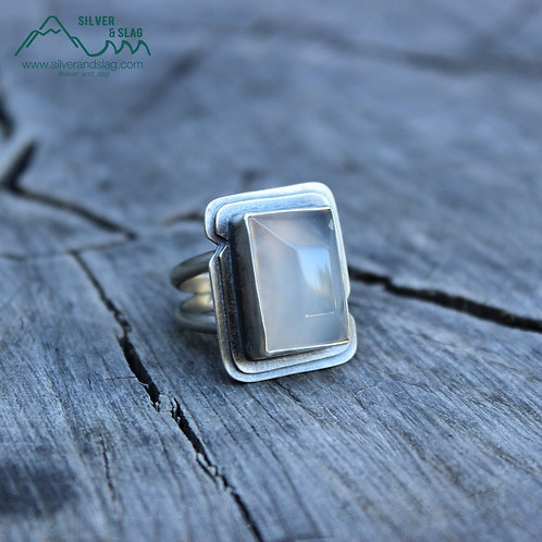 Faceted Malibu Chalcedony set in Sterling Silver Statement Ring - Size 7