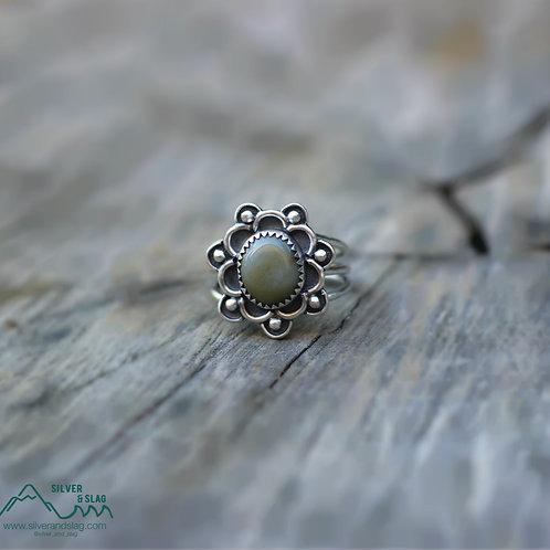 California Jade set in Sterling Silver Boho Ring - Size 6.5    | Silver & Slag |