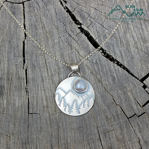 California National Forest Scene w Malibu Agate Sterling Silver Necklace